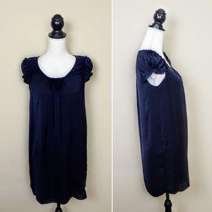 ZARA BASIC Shift Dress, Dark Blue Silky Career, XS